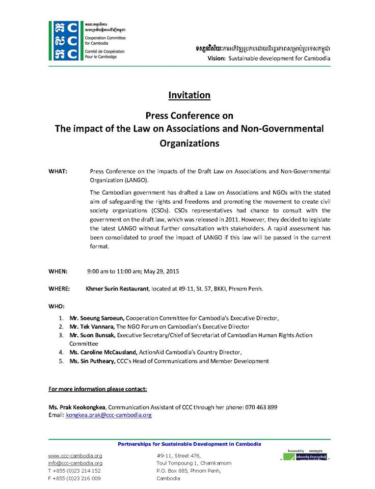Cccs invitation letter to journalists open development cambodia odc impact of the law on associations and non governmental organizations will be held on 29 may 2015 from 900 am to 1100 am at khmer surin restaurant stopboris Images