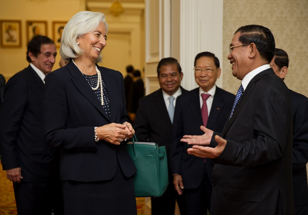 Cambodia's Prime Minister with IMF Managing Director. Photo by International Monetary Fund (IMF), take on 2 December 2013. Licensed under Attribution-NonCommercial-NoDerivs 2.0