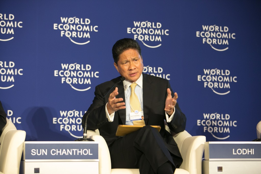 Sun Chanthol, Senior Minister; Minister of Commerce of Cambodia.Photo by World Economic Forum, take on 20 April 2015. Licensed under Attribution-NonCommercial-ShareAlike 2.0 Generic