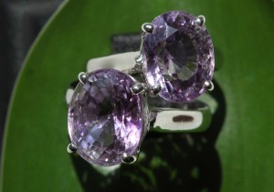 Amethysts from Kampong Thom set into rings. Photograph taken June 2015. ODC