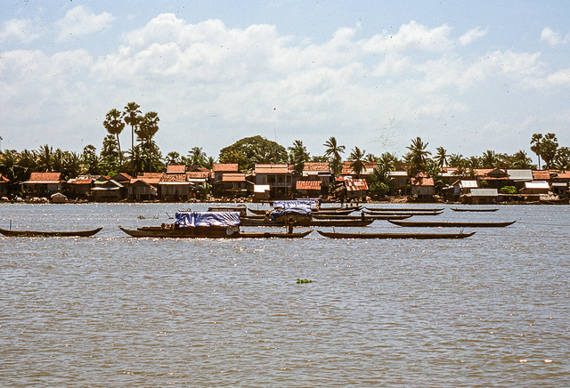 Net-fishing from anchored boats in Tonle Sap River, Cambodian 1999