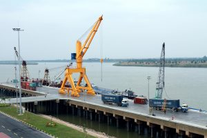 Products from Vietnam arrive at the Phnom Penh Autonomous port in Kandal province.